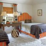 Pumpkin Orange and Beige Twin Bedroom