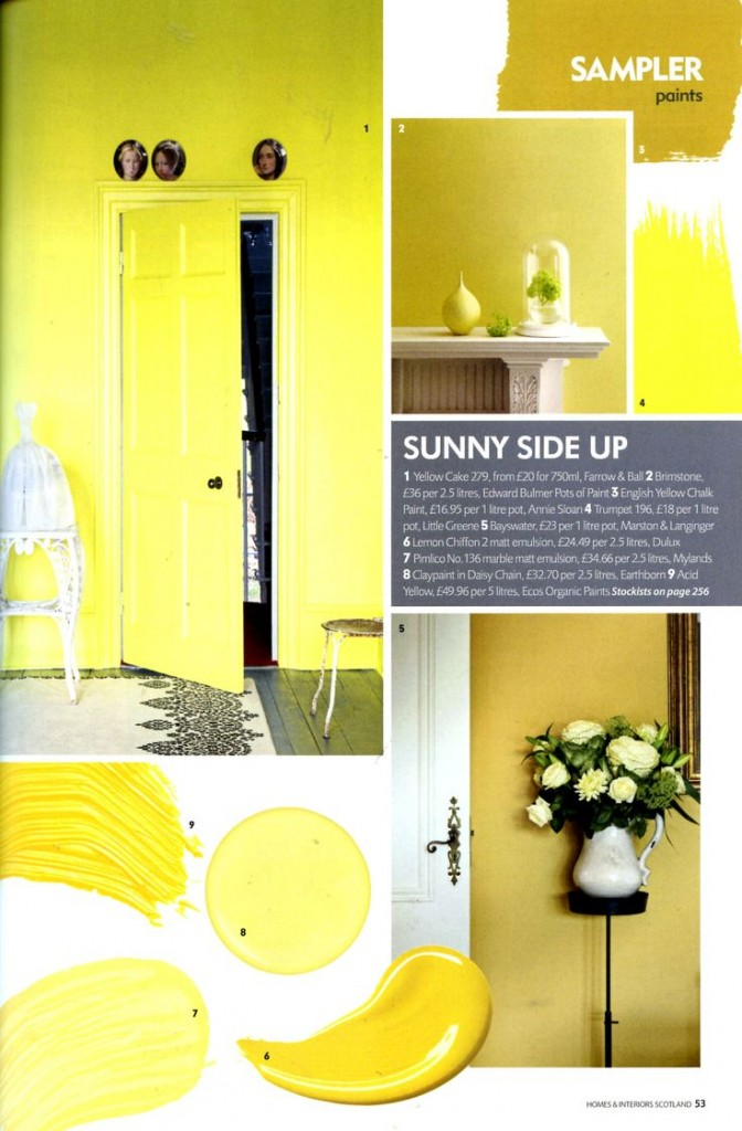 yellow shades paint palette