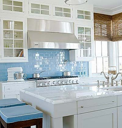Bright coastal kitchen in blue and white interiors by color for Nautical kitchen backsplash