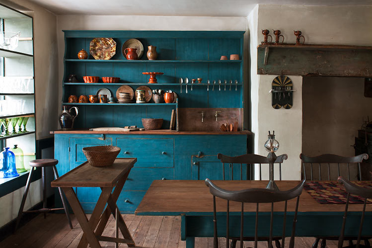 sink, deep teal blue painted cabinets A rustic vintage styles kitchen