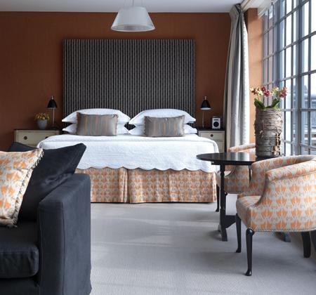 Bedroom in Opaque Orange and Grey
