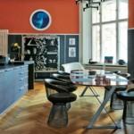 Contemporary Kitchen in Exuberant Orange and Blackened Oak