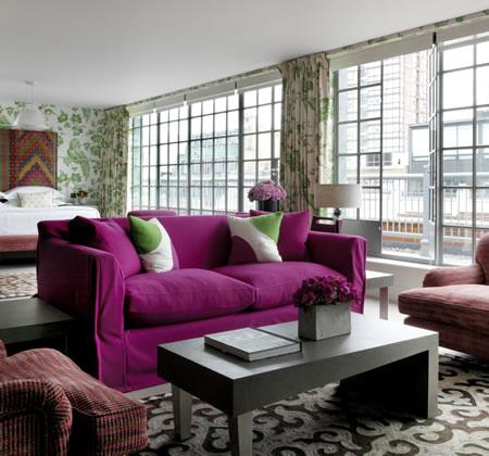 pink sofa green pillows