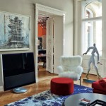 Contemporary Red and Blue Living Space