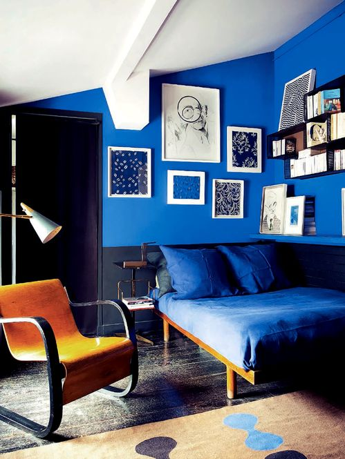 roal blue bedroom. Royal Blue  Black and Modern   Interiors By Color