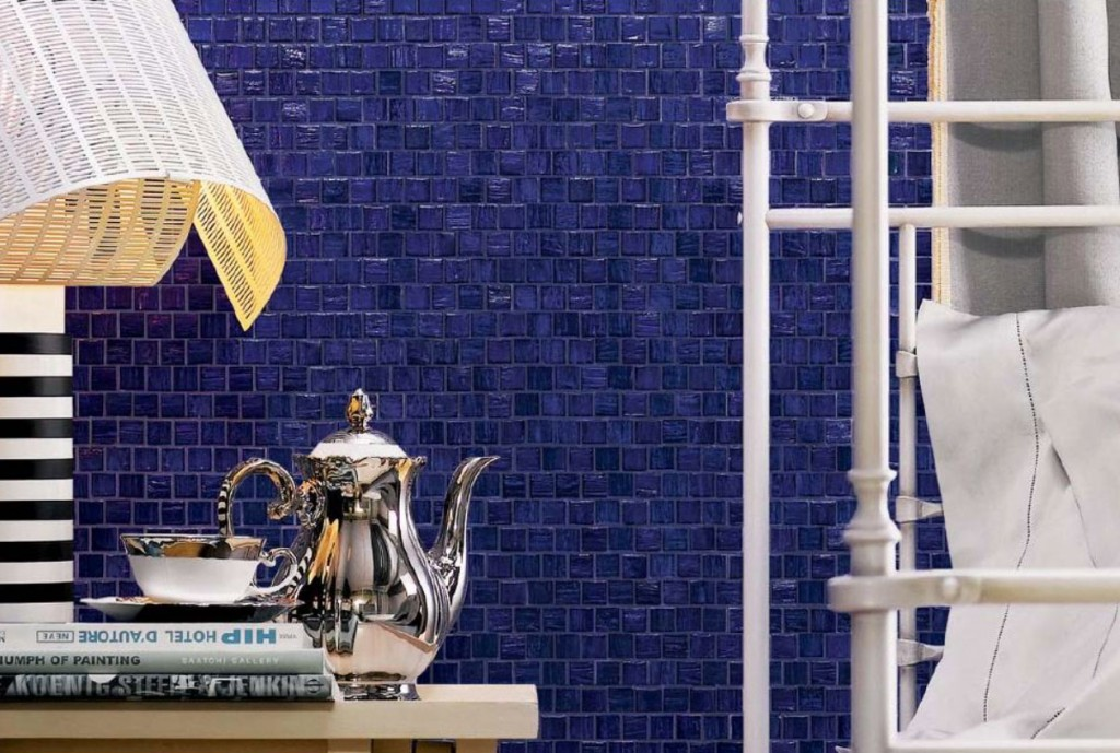 Blue Mosaic Tiled Wall