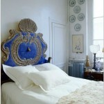 French Parisian Ornate Blue Headboard