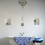 White and Blue Rustic Bathroom