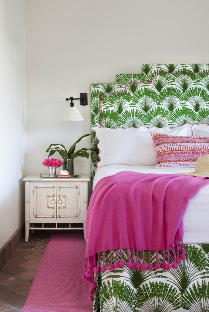 Bold Green and Pink  Bedroom