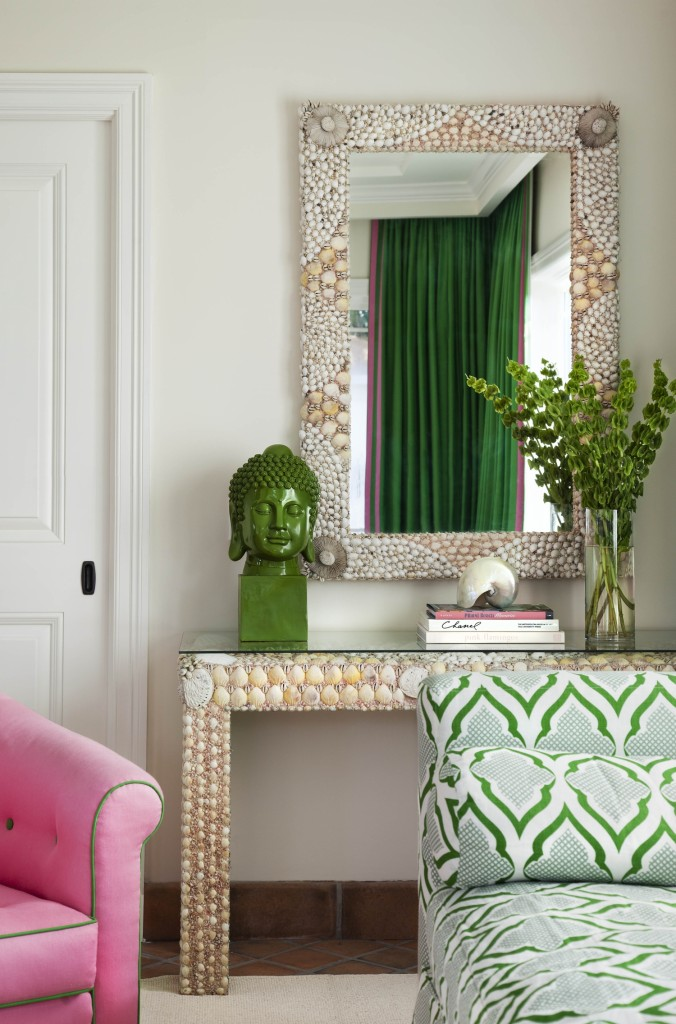 Bold Green and Pink Living 1