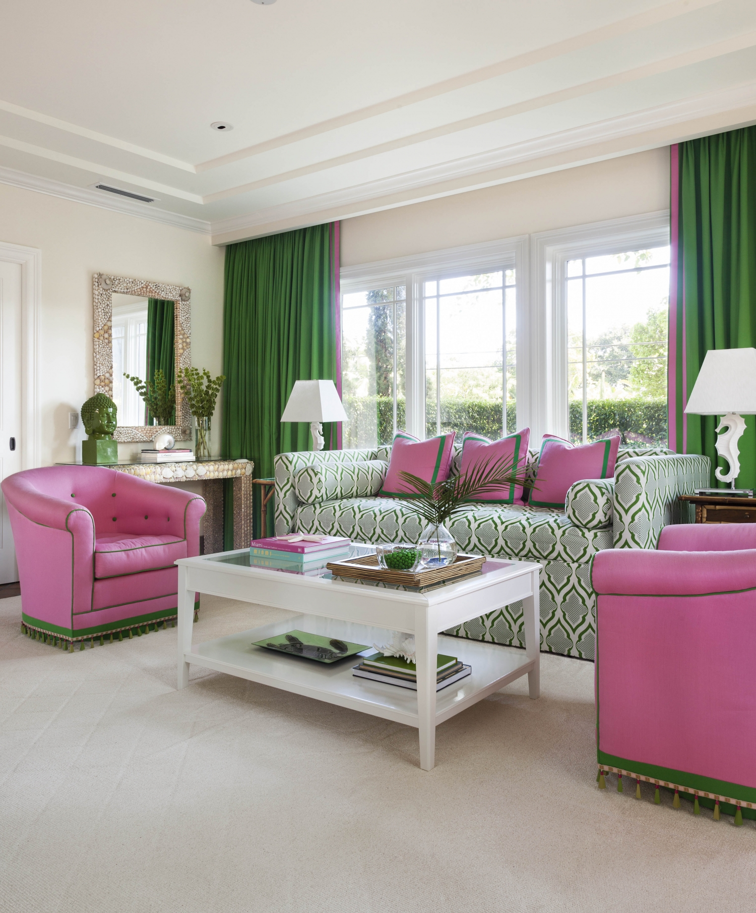 Bold Green And Pink Living And Bedroom