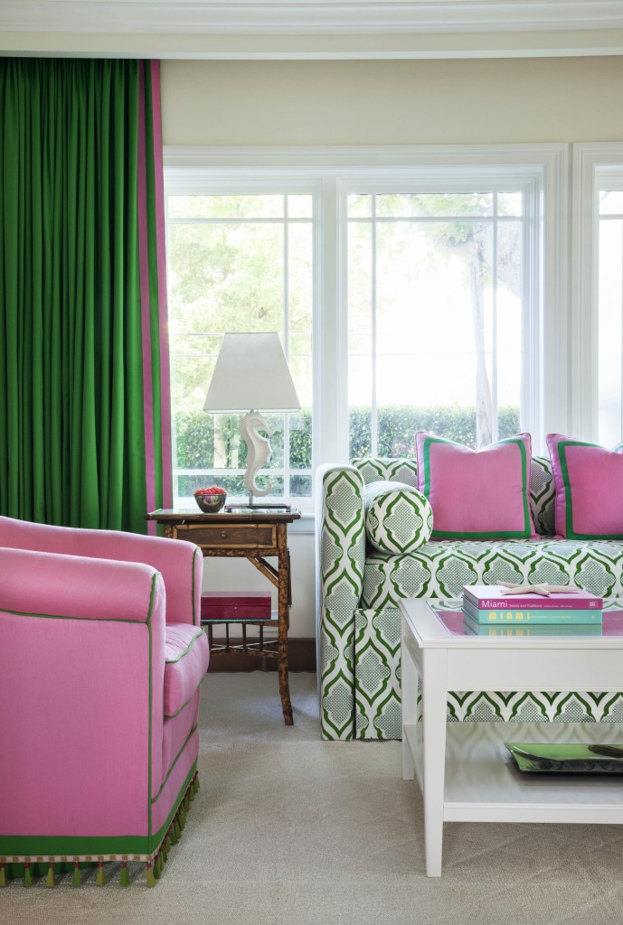 Bold Green and Pink Living and Bedroom - Interiors By Color