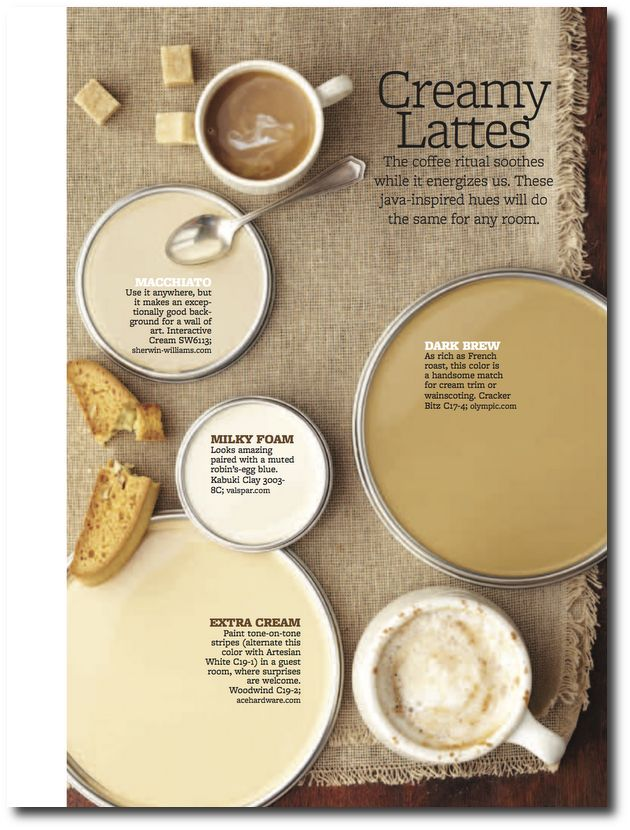 Creamy lattes paint palette interiors by color for Creamy neutral paint colors