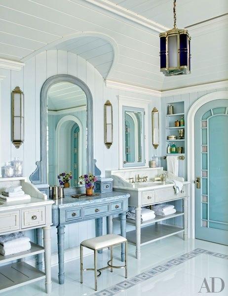 Long island beach house interiors by color for Beach house master bathroom