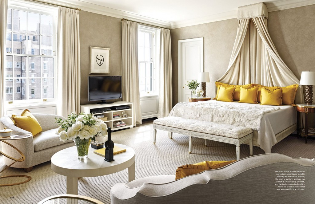 Master Bedroom in Neutrals and Yellow