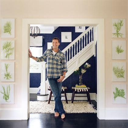Southampton Cottage by Timothy Whealon navy wall stairs