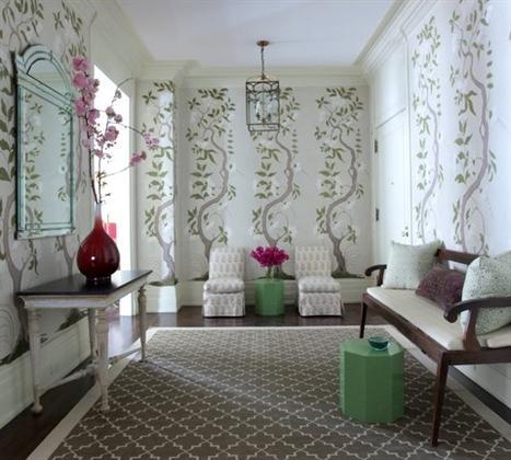 Tree Wallpapered Foyer