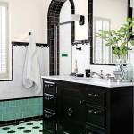 Green and Black Retro Bathroom