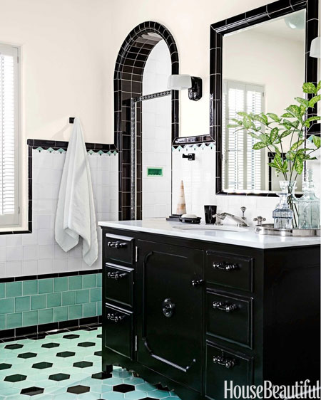 black white and green bathroom green and black retro bathroom interiors by color 22781