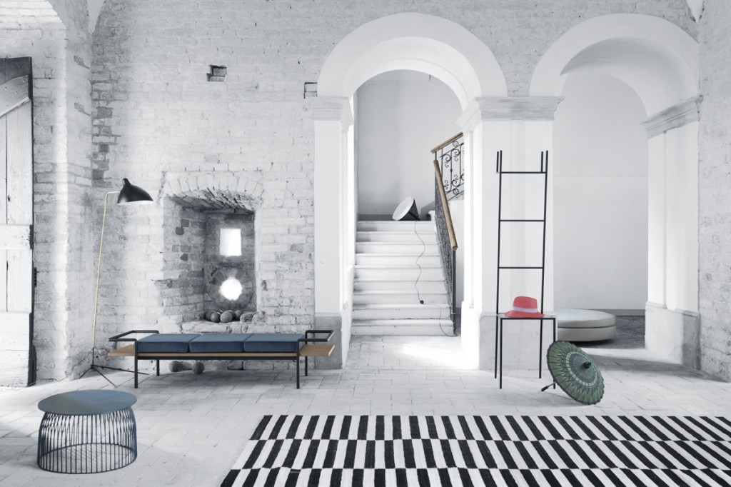 black white blue watehouse style living space