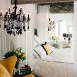 Traditional White, Yellow and Black Bedroom