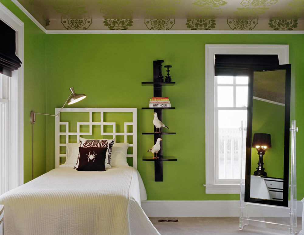 Bed room kids in lime green interiors by color for Lime green black and white room ideas