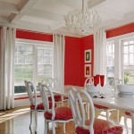 Contemporary Red and White Dining