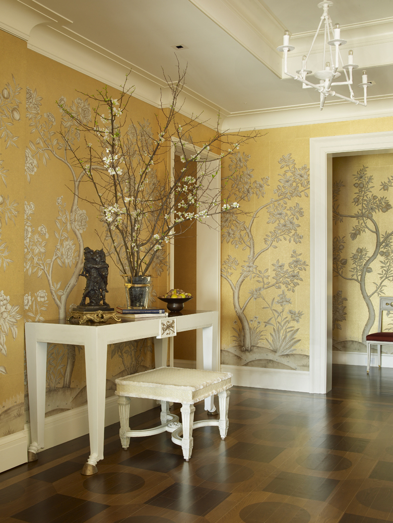Foyer Wallpaper : Yellow golden foyer interiors by color