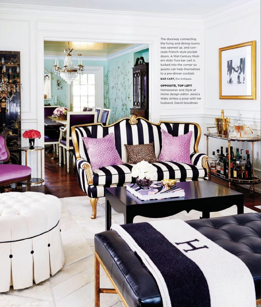 Purple Black And White Living Room: Interiors By Color