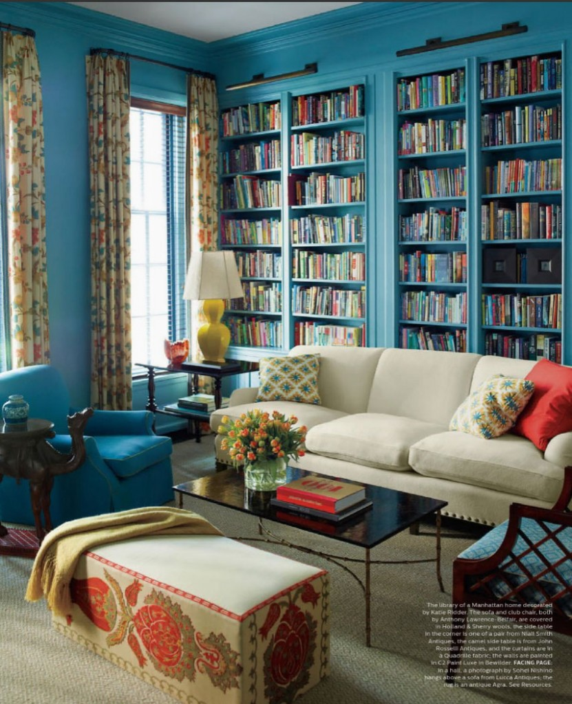 C2Paint Luxe in Bewilder Paint color, turquoise/teal paint color scheme for a home library and bookshelves.