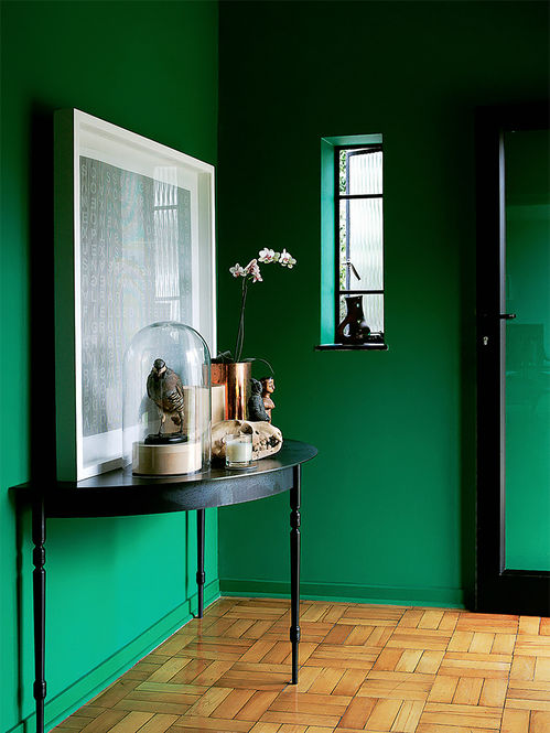 Foyer Colors Uk : Kelly green foyer with black graphic lines interiors by
