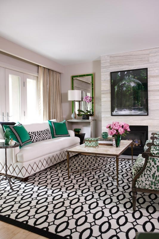 Main Living Room Green Geometric White Black