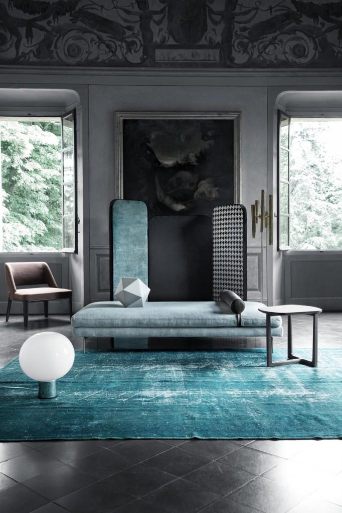 modern living blue rug