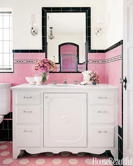 Pink And Black Retro Bathroom