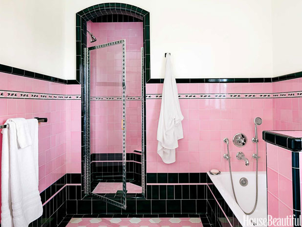 Pink and black retro bathroom interiors by color for Pink retro bathroom ideas
