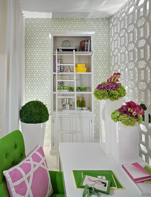 Loni Parker Interior White, Green and Pink