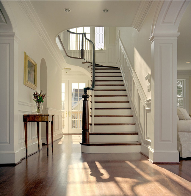 Linen white staircase interiors by color for Foyer paint color decorating ideas