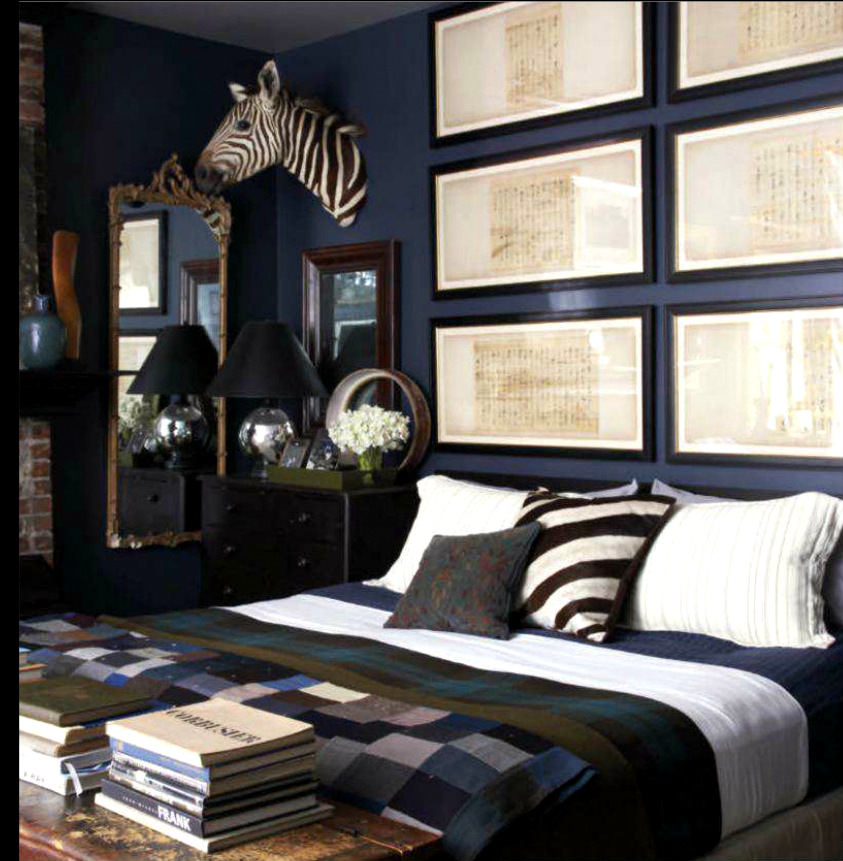 Master bedroom in blue note benjamin moore interiors by color Blue and brown bedroom ideas for decorating