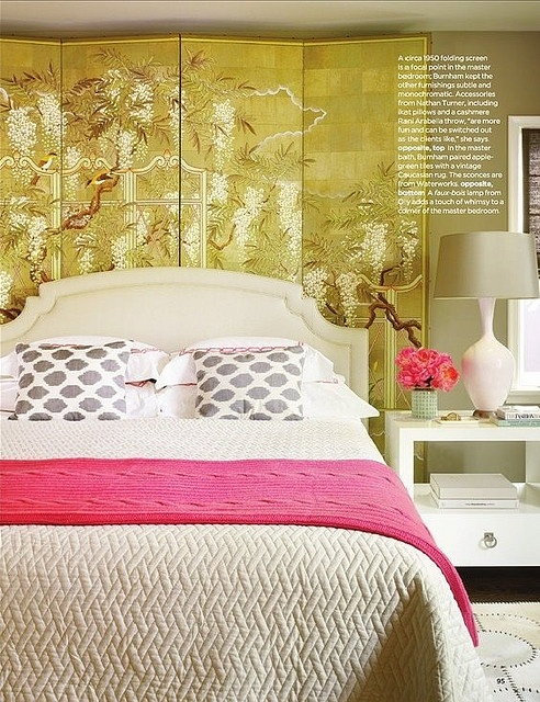 Contemporary Bedroom In Olive Green, White and Pink