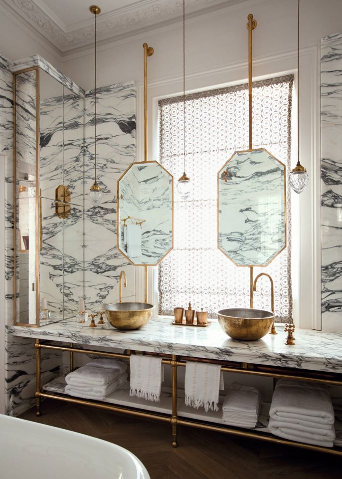 His-and-Hers Marble Bathroom
