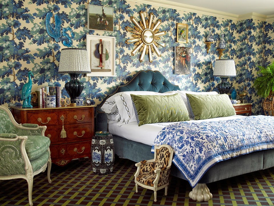 Blue and Green Pattern Drenched Bedroom