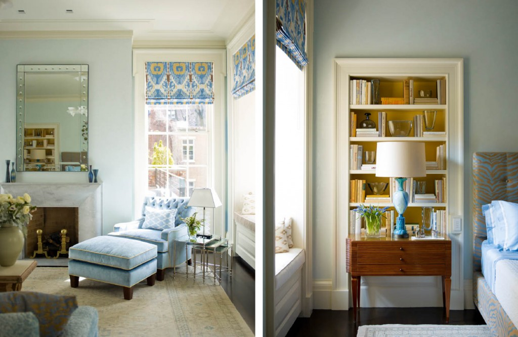 Lower Fifth Townhouse light blue and gold master bedroom