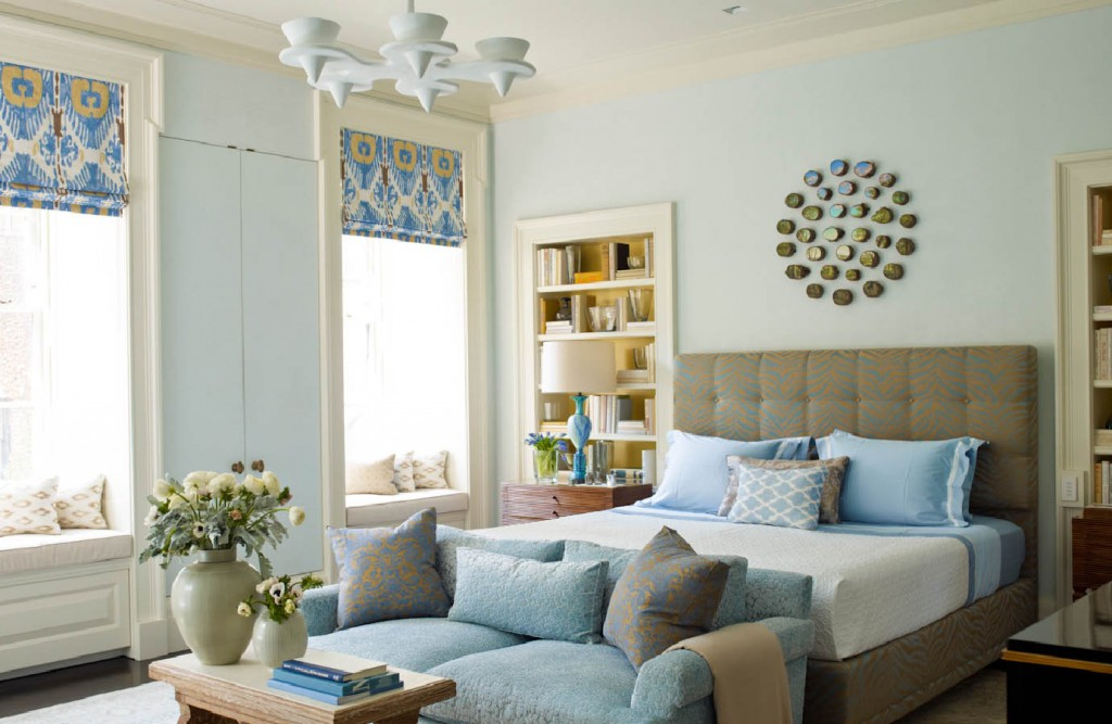 Lower Fifth Townhouse light blue master bedroom
