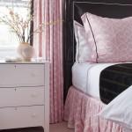 Pink Bedding Black Leather Headboard