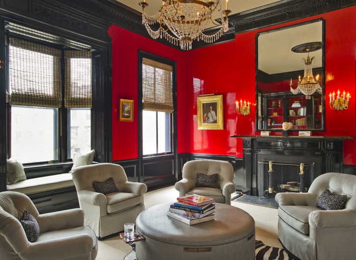 Black Fireplace Red Lacquered Walls