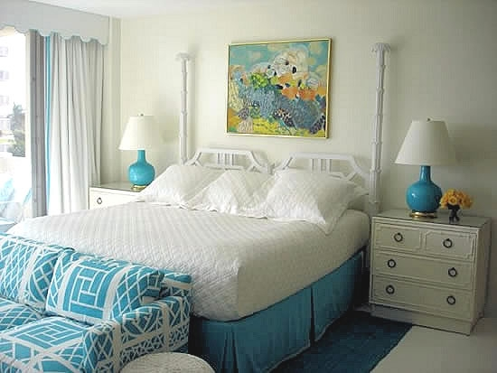 bedroom in turquoise and white