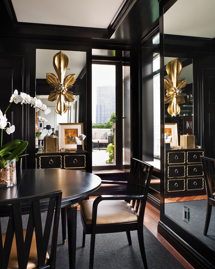 Dining In Black And Gold Interiors By Color