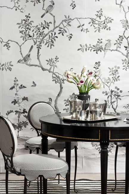 black and white dining stripes