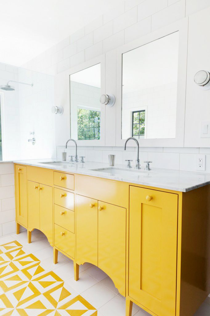 Outstanding Image Of Yellow And White Bathroom Decoration Ideas Contempo Modern