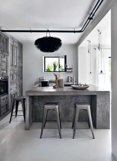 Raw Wood and Concrete Kitchen